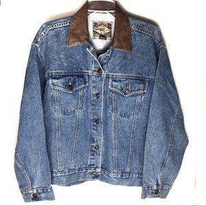 Vintage EXPRESS Jean Jacket Faux Leather Collar